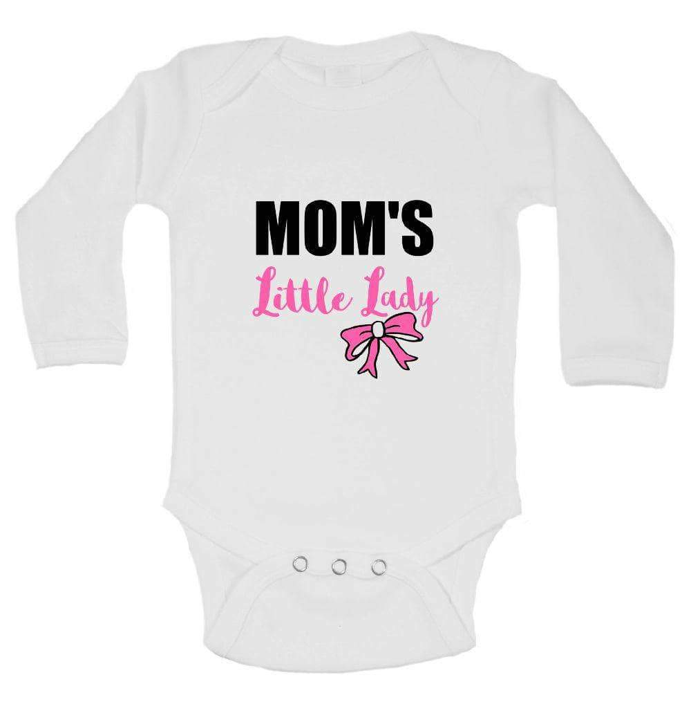 Mom's Little Lady FUNNY KIDS ONESIE Long Sleeve 0-3 Months Womens Tank Tops