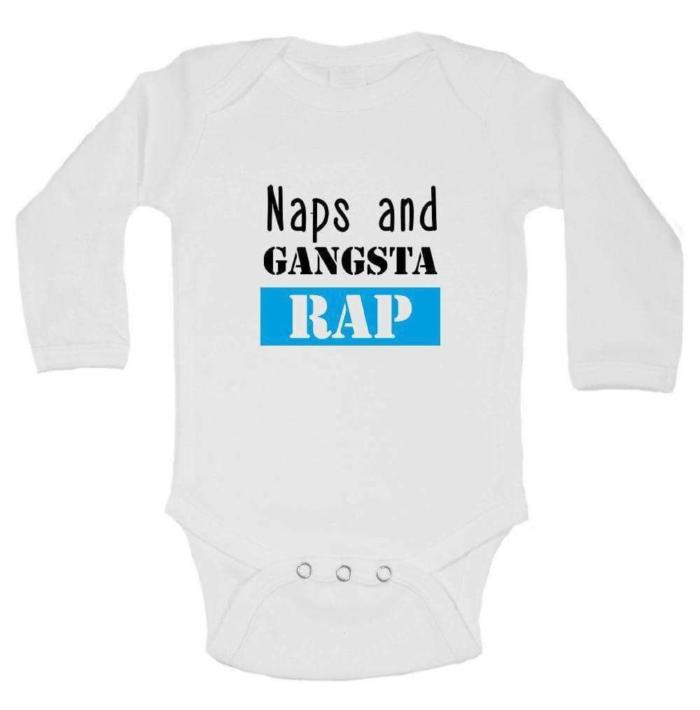 Naps And Gangsta Rap FUNNY KIDS ONESIE Long Sleeve 0-3 Months Womens Tank Tops