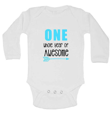 One Whole Year Of Awesome FUNNY KIDS ONESIE Long Sleeve 0-3 Months Womens Tank Tops