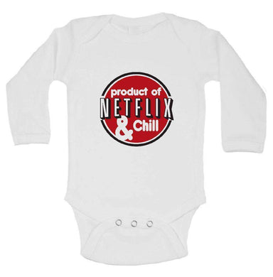 Product Of Netflix & Chill FUNNY KIDS ONESIE Long Sleeve 0-3 Months Womens Tank Tops