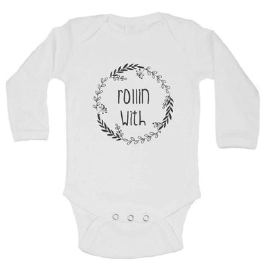Rollin With FUNNY KIDS ONESIE Long Sleeve 0-3 Months Womens Tank Tops