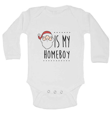 Santa Is My Homeboy FUNNY KIDS ONESIE Long Sleeve 0-3 Months Womens Tank Tops