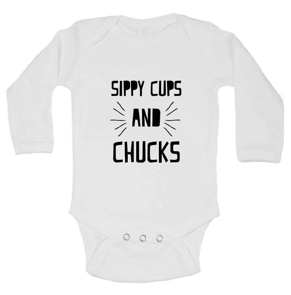 Sippy Cups And Chucks FUNNY KIDS ONESIE Long Sleeve 0-3 Months Womens Tank Tops