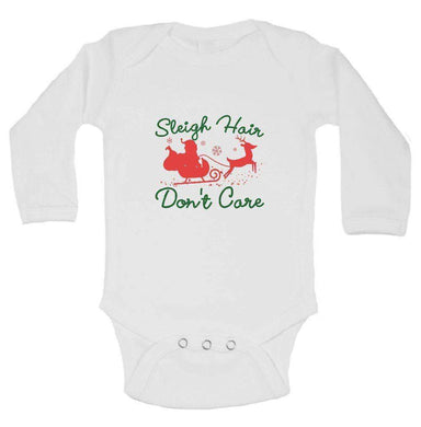 Sleigh Hair Don't Care FUNNY KIDS ONESIE Long Sleeve 0-3 Months Womens Tank Tops