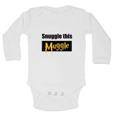 Snuggle This Muggle Funny Kids Onesie Long Sleeve 0-3 Months Womens Tank Tops