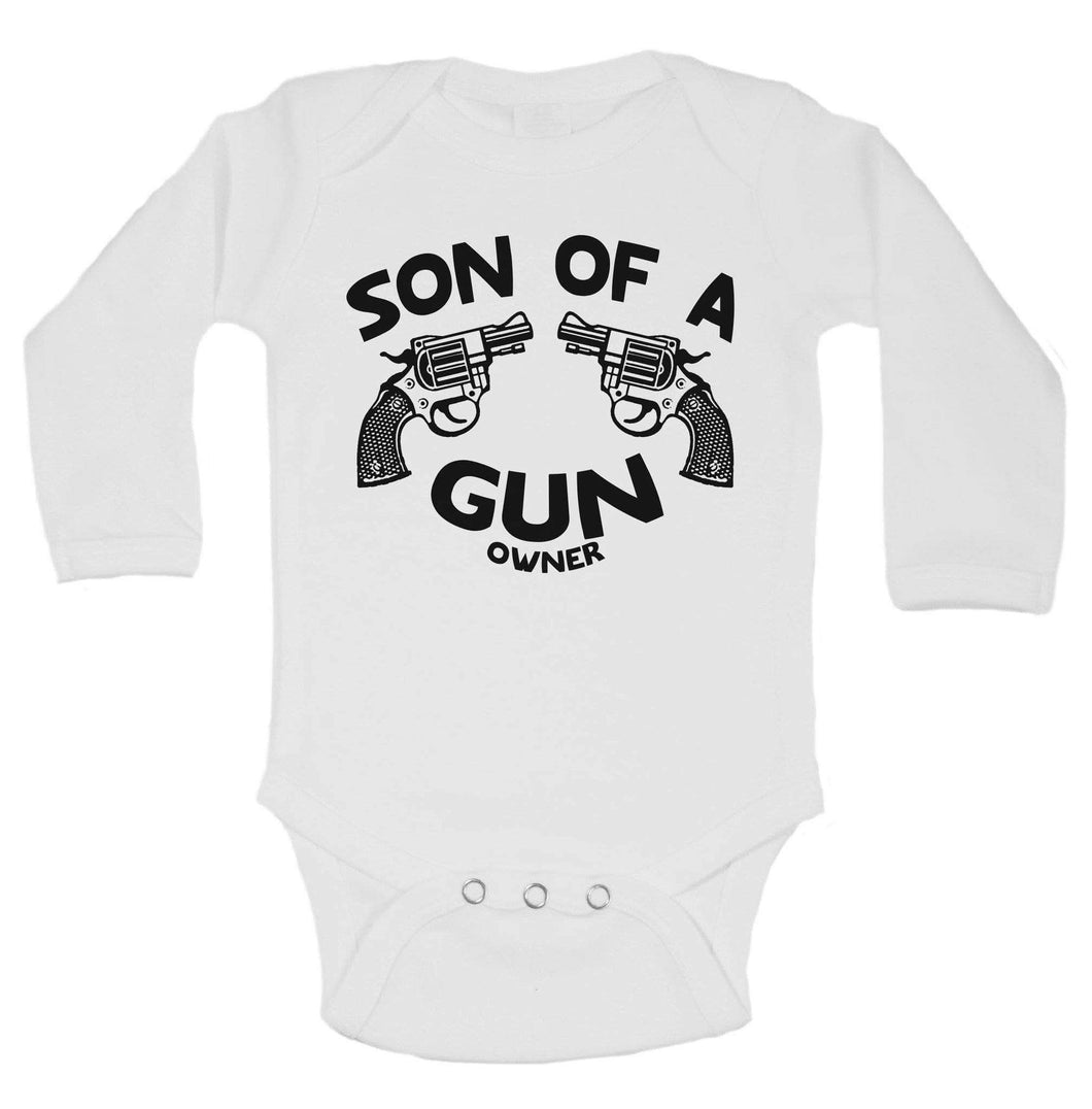 Son Of A Gun Owner Funny Kids Onesie Long Sleeve 0-3 Months Womens Tank Tops