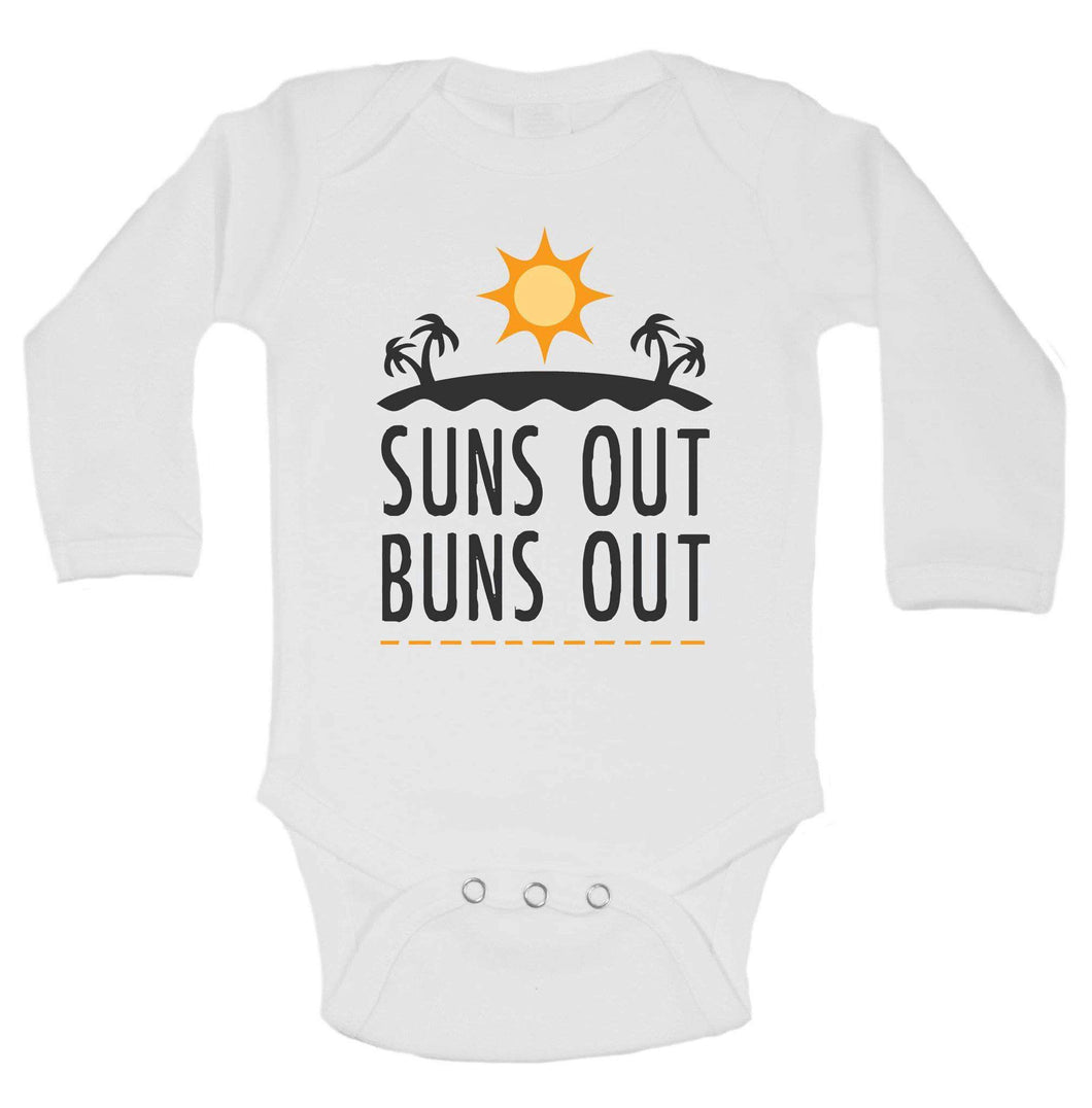 Suns Out Buns Out Funny Kids Onesie Long Sleeve 0-3 Months Womens Tank Tops