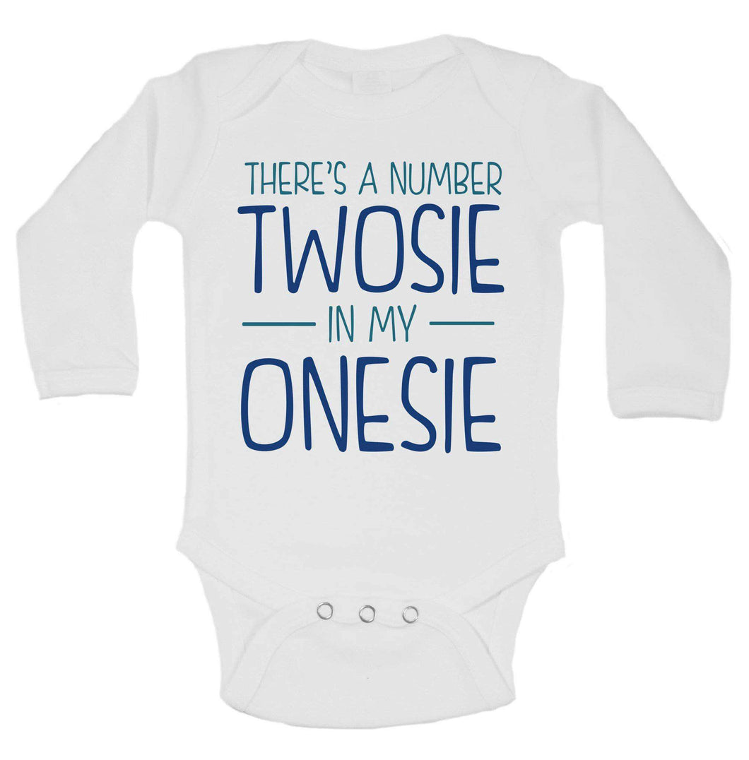 There's A Number Twosie In My Onesie Funny Kids Onesie Long Sleeve 0-3 Months Womens Tank Tops