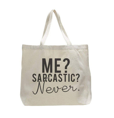 Me? Sarcastic? Never. - Trendy Natural Canvas Bag - Funny and Unique - Tote Bag  Womens Tank Tops