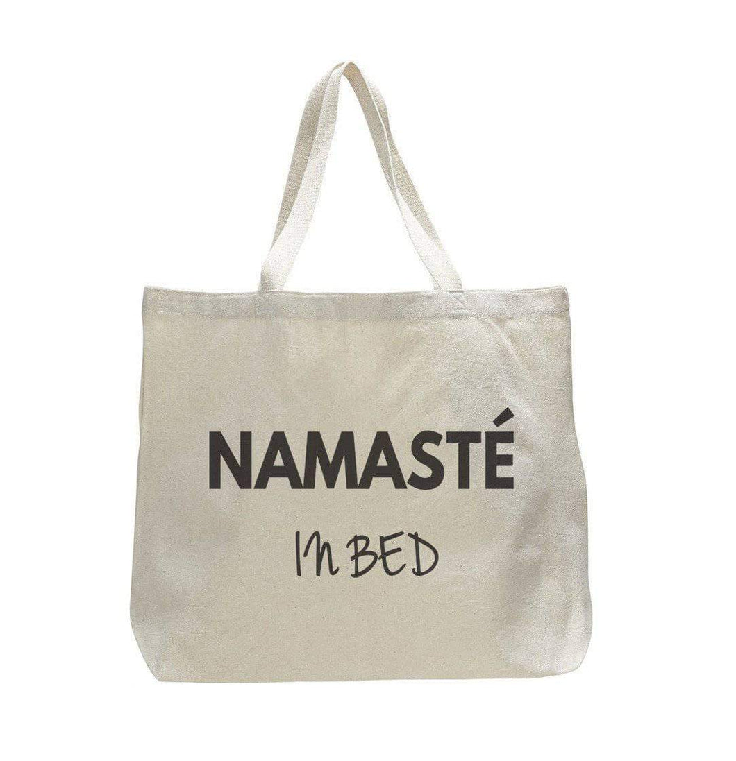 Namaste In Bed - Trendy Natural Canvas Bag - Funny and Unique - Tote Bag  Womens Tank Tops