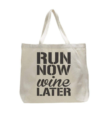 Run Now Wine Later - Trendy Natural Canvas Bag - Funny and Unique - Tote Bag  Womens Tank Tops