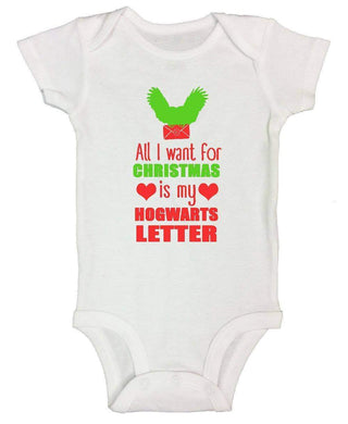 All I Want For Christmas Is My Hogwarts Letter FUNNY KIDS ONESIE Short Sleeve 0-3 Months Womens Tank Tops