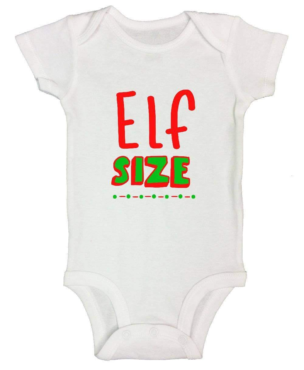 Elf Size FUNNY KIDS ONESIE Short Sleeve 0-3 Months Womens Tank Tops