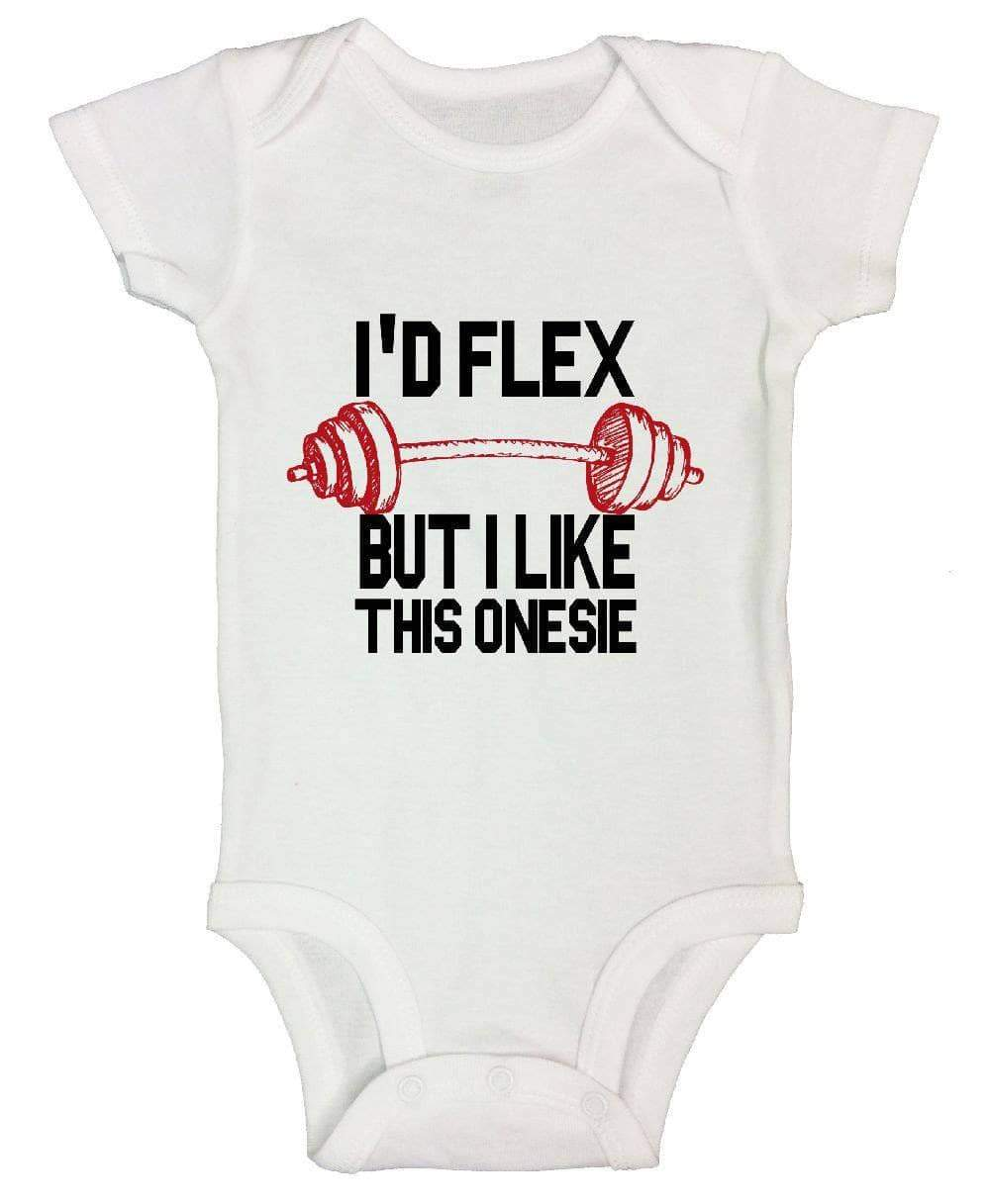I'd Flex But I Like This Onesie FUNNY KIDS ONESIE Short Sleeve 0-3 Months Womens Tank Tops