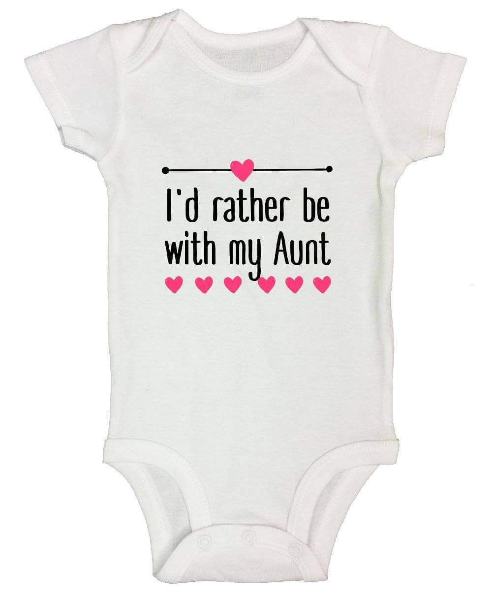 I'd Rather Be With My Aunt FUNNY KIDS ONESIE Short Sleeve 0-3 Months Womens Tank Tops
