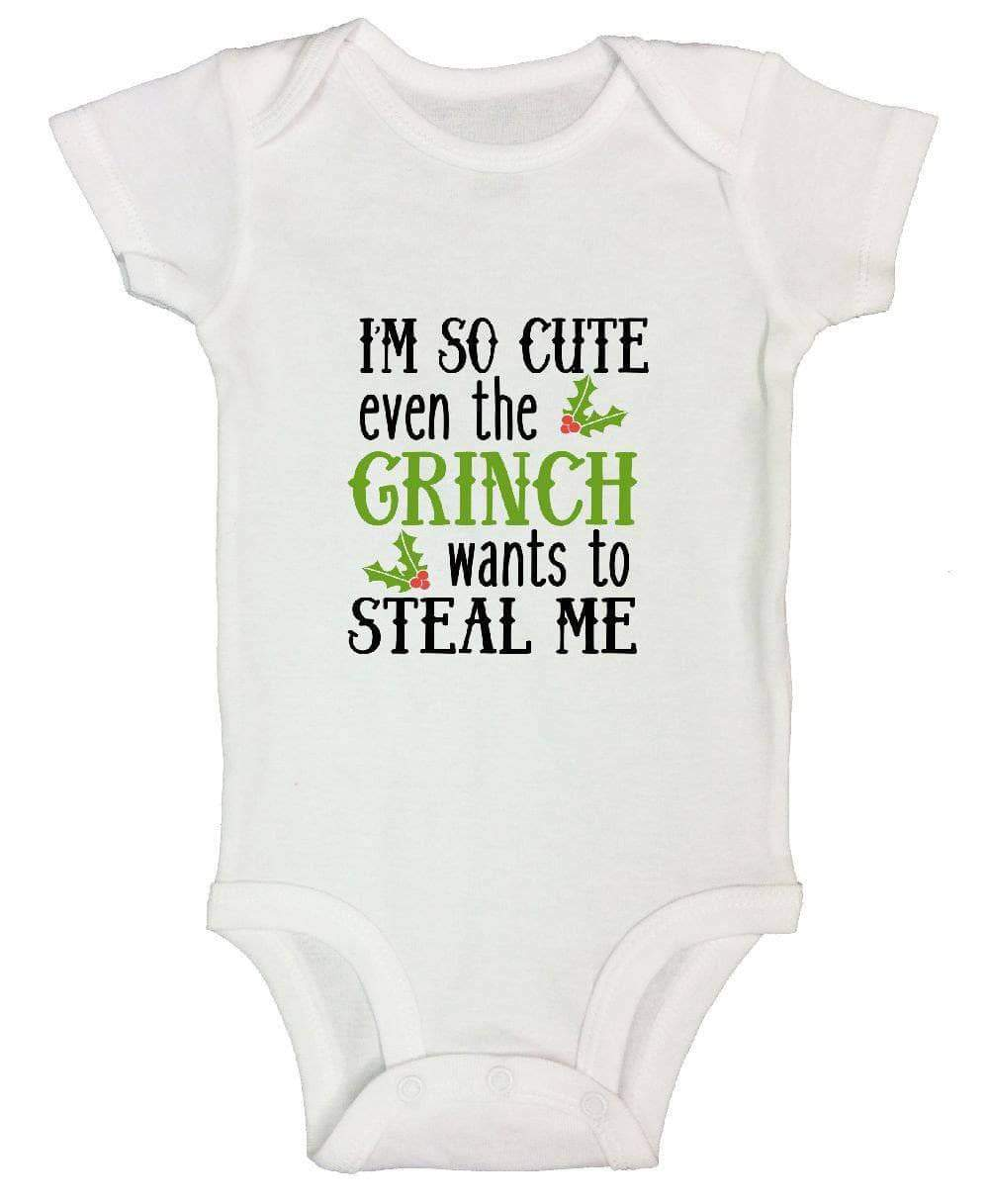 I'm So Cute Even The Grinch Wants To Steal Me FUNNY KIDS ONESIE Short Sleeve 0-3 Months Womens Tank Tops