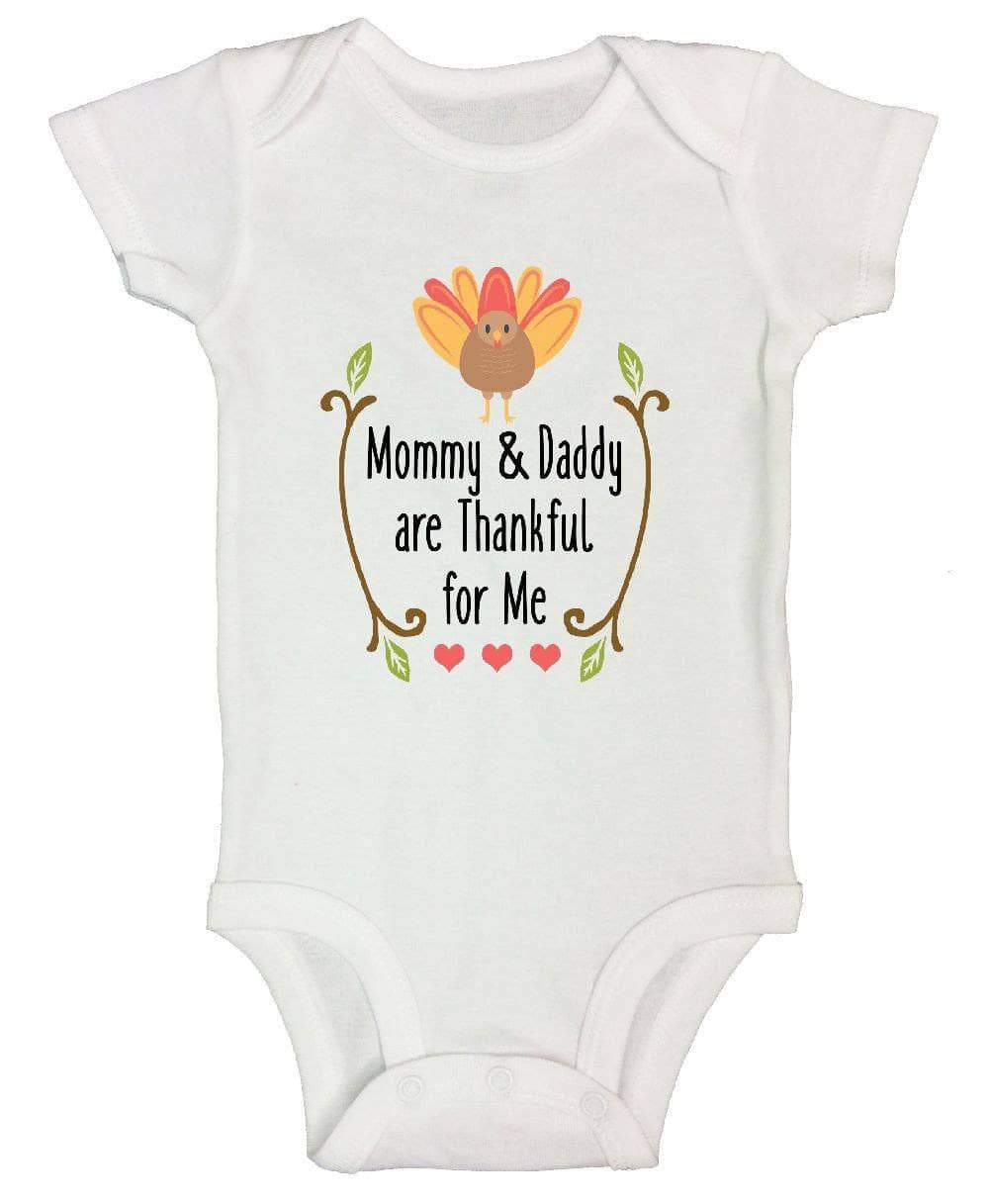 Mommy & Daddy Are Thankful For Me FUNNY KIDS ONESIE Short Sleeve 0-3 Months Womens Tank Tops