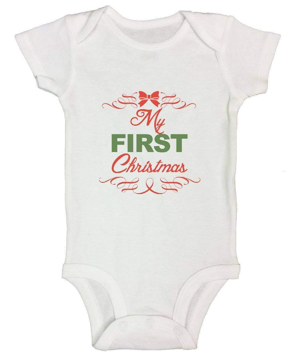 My First Christmas FUNNY KIDS ONESIE Short Sleeve 0-3 Months Womens Tank Tops