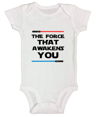 The Force That Awakens You FUNNY KIDS ONESIE Short Sleeve 0-3 Months Womens Tank Tops
