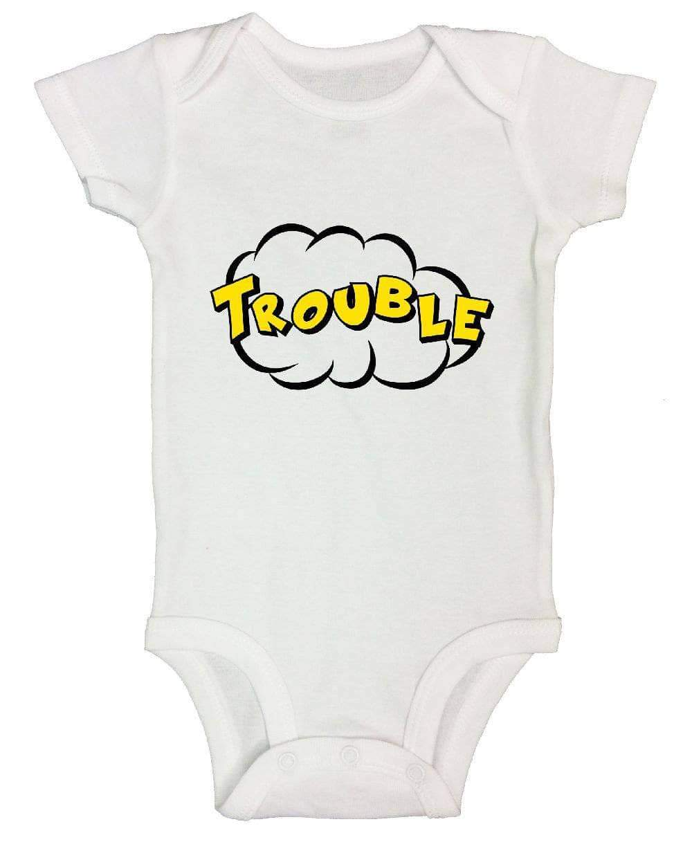 Trouble FUNNY KIDS ONESIE Short Sleeve 0-3 Months Womens Tank Tops