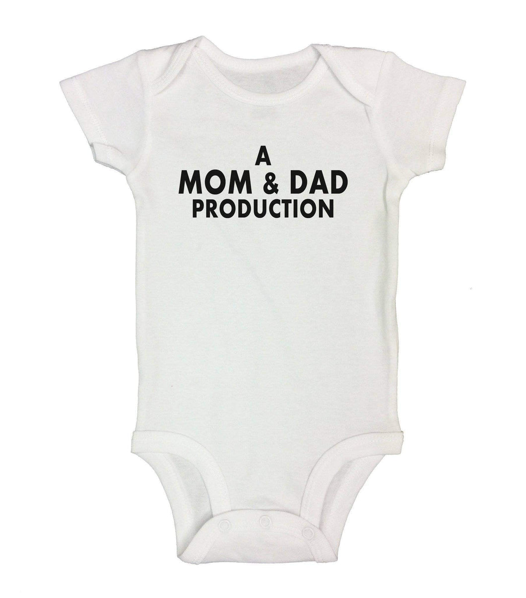 A Mom & Dad Production Funny Kids Onesie Short Sleeve 0-3 Months Womens Tank Tops White