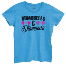 Womens Dumbbells And Diamonds Tshirt Small Womens Tank Tops Blue Tshirt