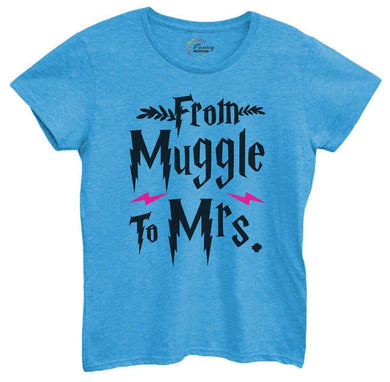 Womens From Muggle To Mrs Tshirt Small Womens Tank Tops Blue Tshirt