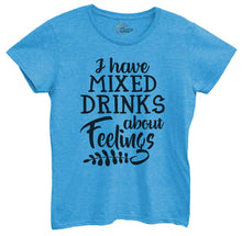 Womens I Have Mixed Drinks About Feelings Tshirt Small Womens Tank Tops Blue Tshirt