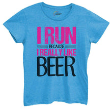 Womens I Run Because I Really Like Beer Tshirt Small Womens Tank Tops Blue Tshirt