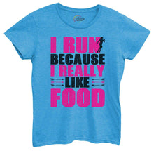 Womens I Run Because I Really Like Food Tshirt Small Womens Tank Tops Blue Tshirt