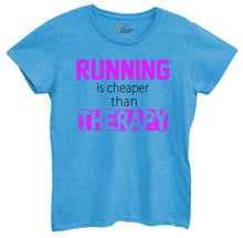 Womens Running Is Cheaper Then Therapy Tshirt Small Womens Tank Tops Blue Tshirt