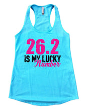 26.2 Is My Lucky Number Womens Workout Tank Top Small Womens Tank Tops Cancun Blue