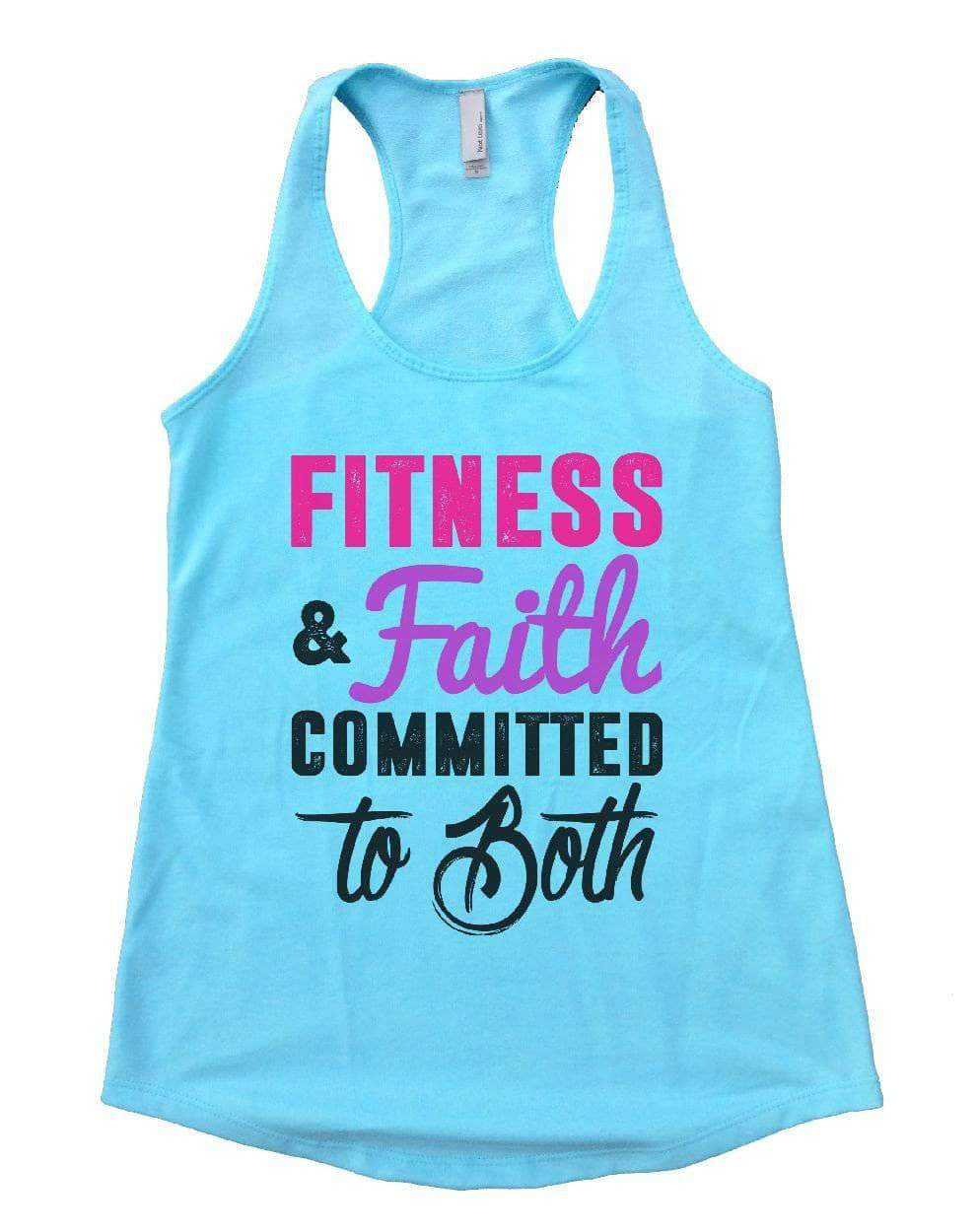 FITNESS & Faith COMMITTED To Both Womens Workout Tank Top Small Womens Tank Tops Cancun Blue