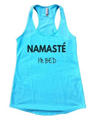 NAMASTE IN BED Womens Workout Tank Top Small Womens Tank Tops Cancun Blue