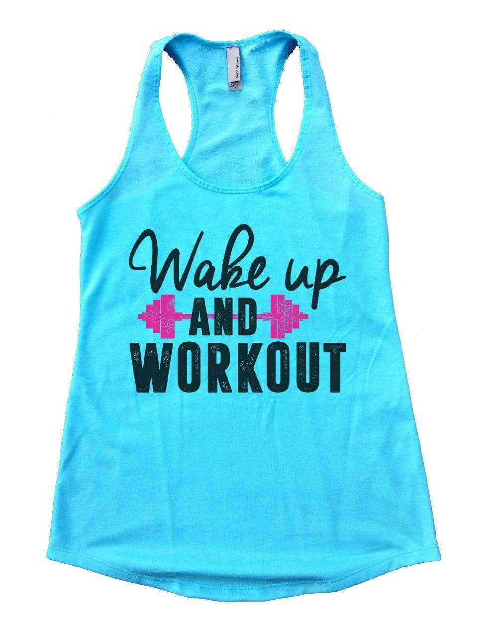 Wake Up AND WORKOUT Womens Workout Tank Top Small Womens Tank Tops Cancun Blue