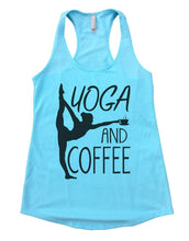 YOGA AND COFFEE Womens Workout Tank Top Small Womens Tank Tops Cancun Blue