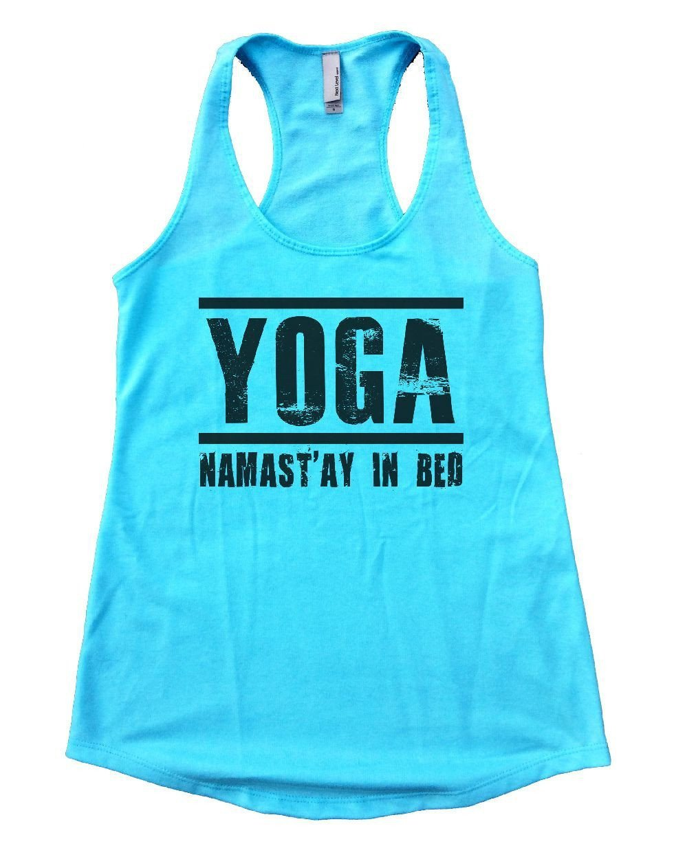 YOGA NAMAST'AY IN BED Womens Workout Tank Top Small Womens Tank Tops Cancun Blue