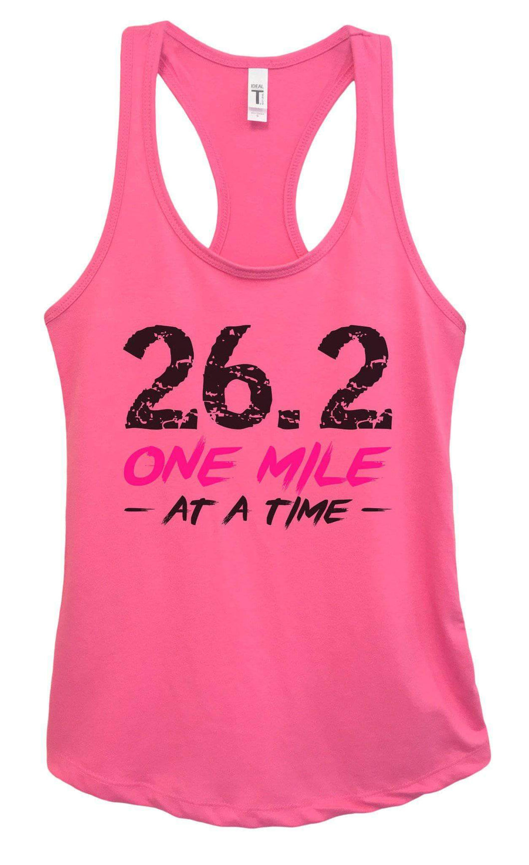 Womens 26.2 One Mile At A Time Grapahic Design Fitted Tank Top Small Womens Tank Tops Fuchsia