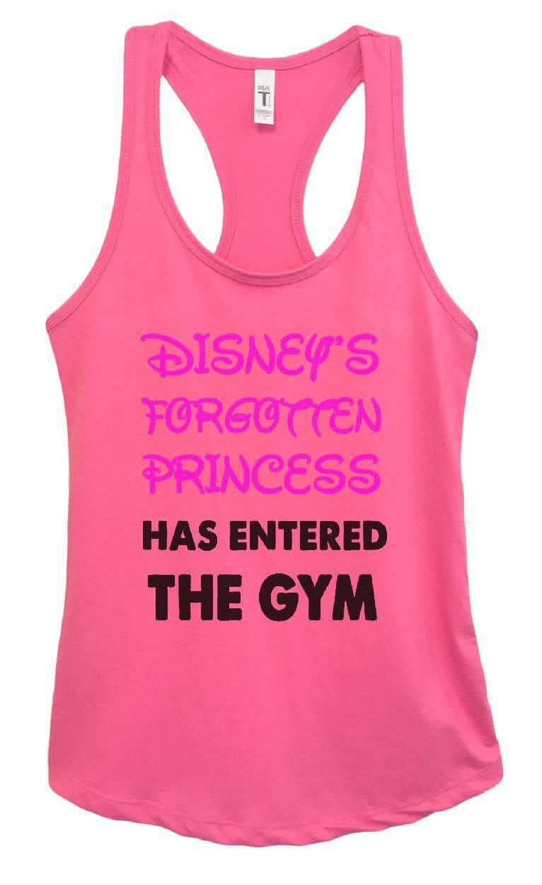 Womens DISNEY'S FORGOTTEN PRINCESS HAS ENTERED THE GYM Grapahic Design Fitted Tank Top Small Womens Tank Tops Fuchsia
