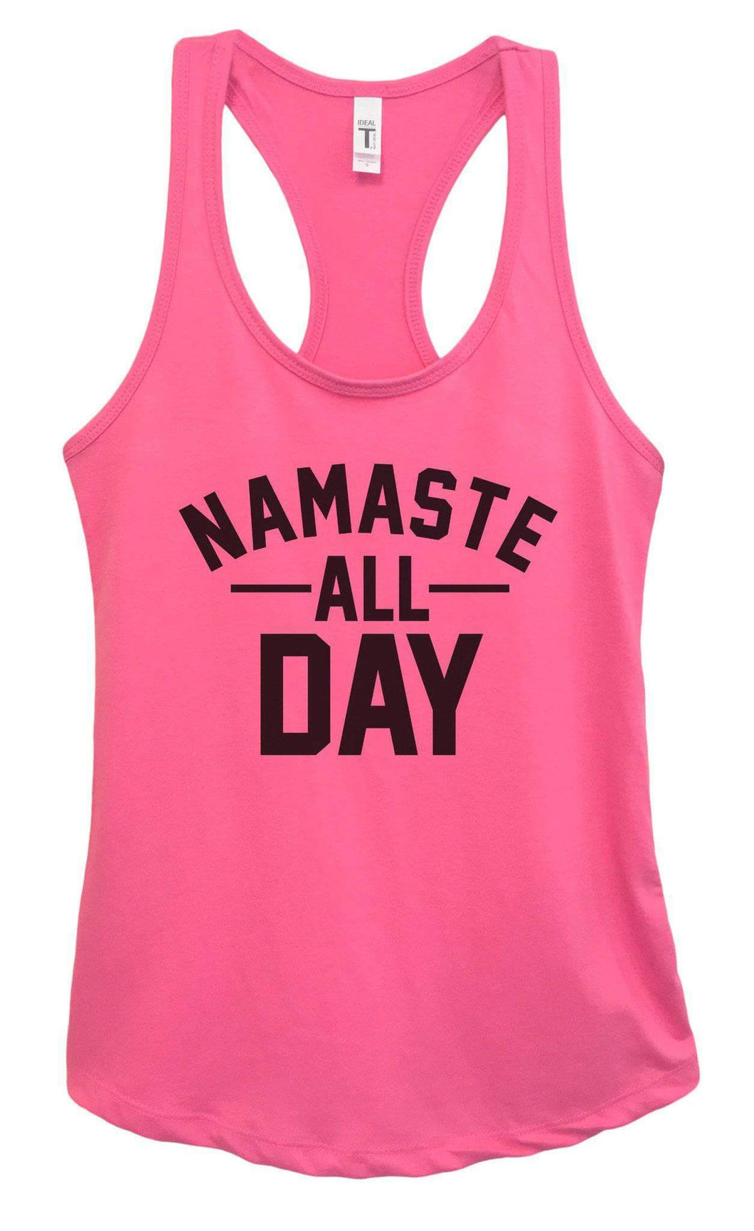 Womens NAMASTE ALL DAY Grapahic Design Fitted Tank Top Small Womens Tank Tops Fuchsia