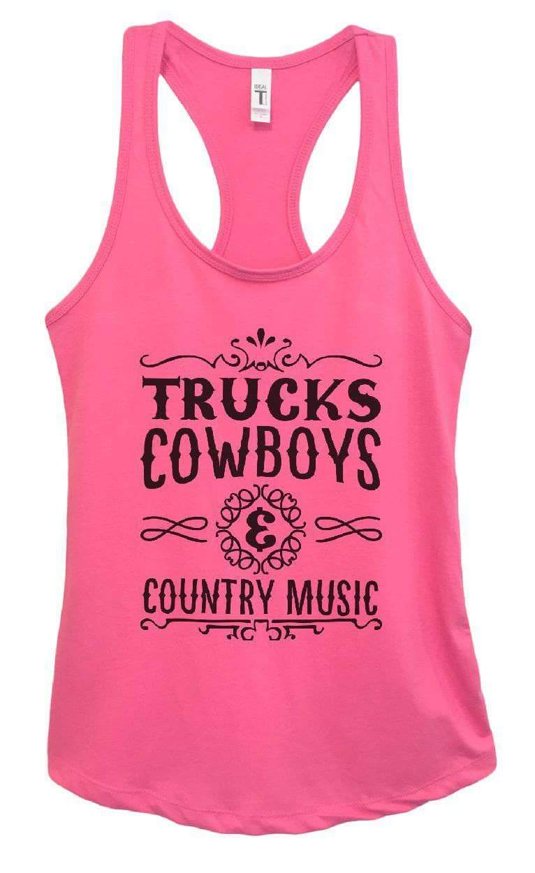 Womens Trucks, Cowboys And Country Music Grapahic Design Fitted Tank Top Small Womens Tank Tops Fuchsia