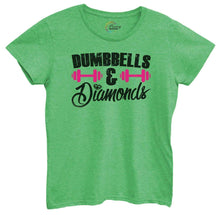 Womens Dumbbells And Diamonds Tshirt Small Womens Tank Tops Green Tshirt