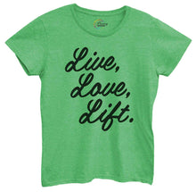 Womens Live Love Liftv3 Tshirt Small Womens Tank Tops Green Tshirt