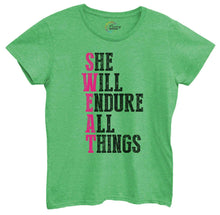 Womens She Will Endure All Things Tshirt Small Womens Tank Tops Green Tshirt