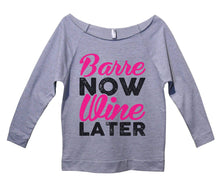 Barre Now Wine Later Womens 3/4 Long Sleeve Vintage Raw Edge Shirt Small Womens Tank Tops Grey