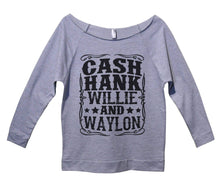 Cash Hank Willie And Waylon Womens 3/4 Long Sleeve Vintage Raw Edge Shirt Small Womens Tank Tops Grey