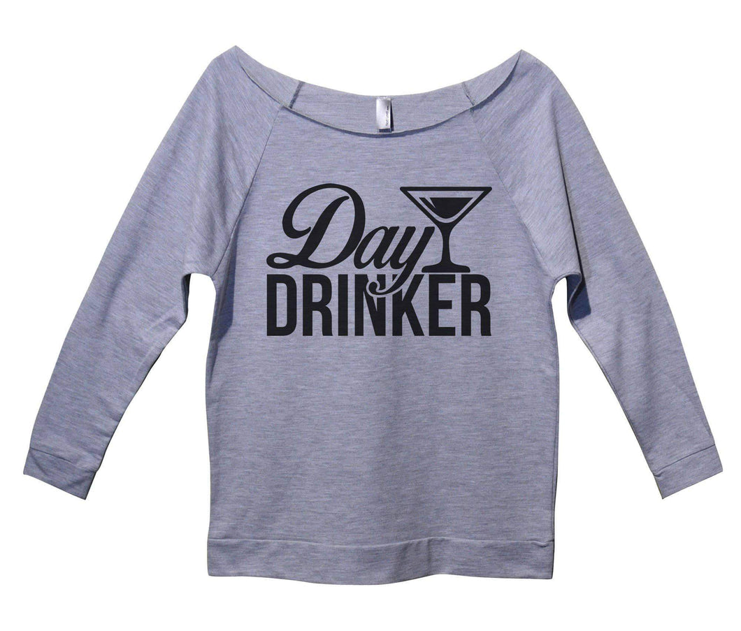 Day Drinker Womens 3/4 Long Sleeve Vintage Raw Edge Shirt Small Womens Tank Tops Grey