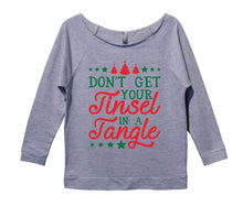 Don't Get Your Tinsel In A Tangle Womens 3/4 Long Sleeve Vintage Raw Edge Shirt Small Womens Tank Tops Grey
