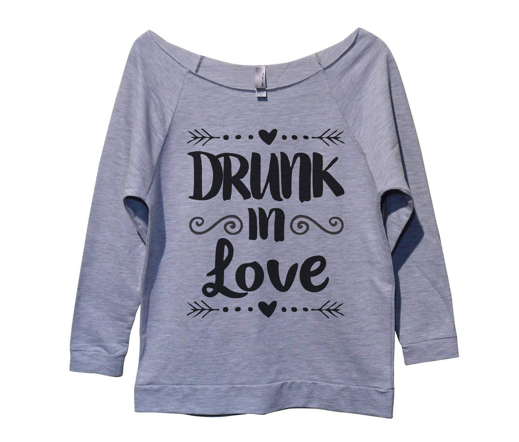 Drunk In Love Womens 3/4 Long Sleeve Vintage Raw Edge Shirt Small Womens Tank Tops Grey