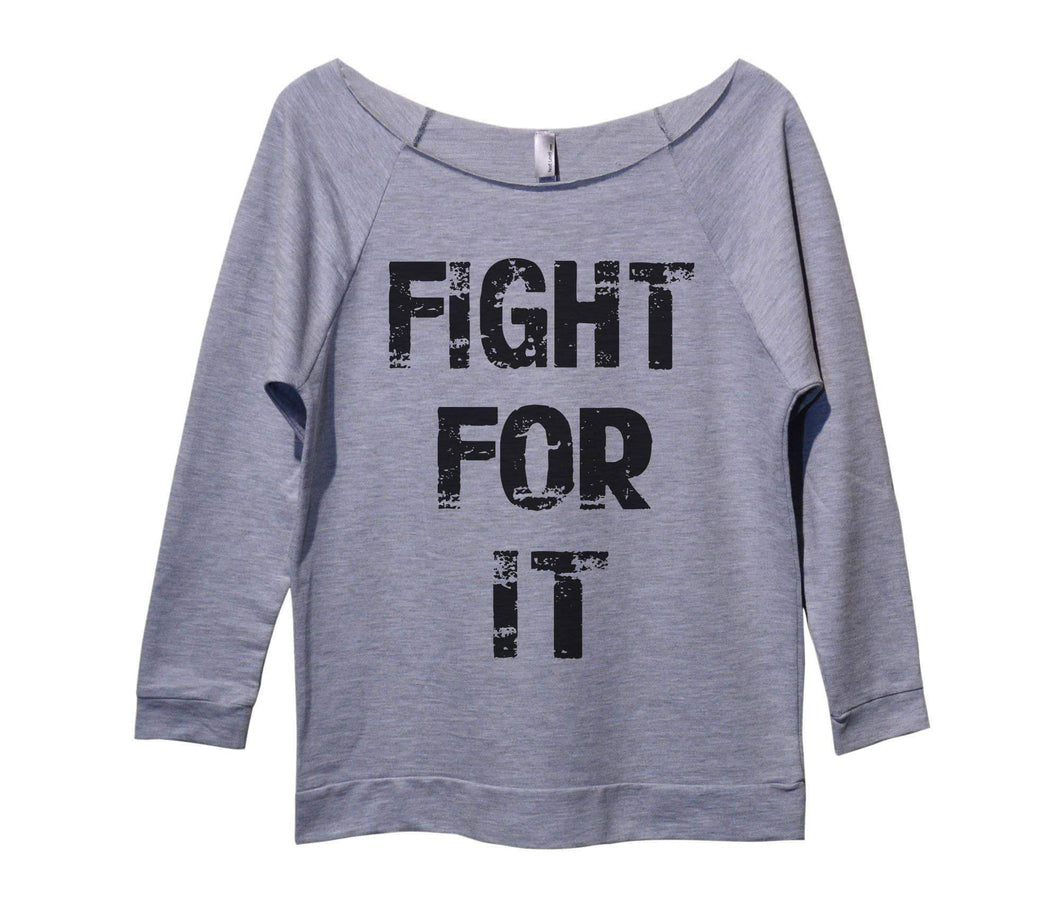 Fight For It Womens 3/4 Long Sleeve Vintage Raw Edge Shirt Small Womens Tank Tops Grey